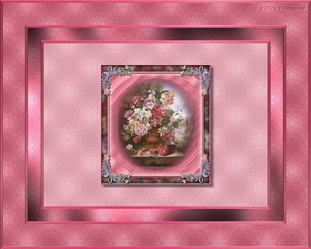 flowers in vase - flowers, vase, pink borders