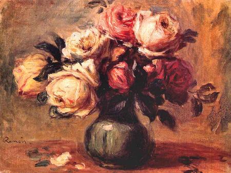 Roses in a vase pierre Auguste Renoir - gray, white, roses, vase, pin