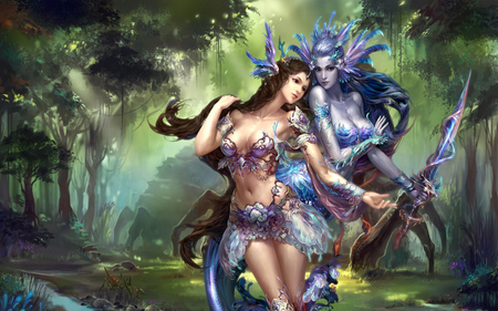 A dreamy world - flowers, light, face, dark, sword, forest, beautiful, fantasy, woman, fairy, girl