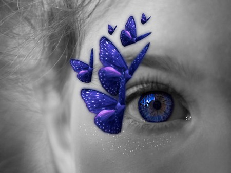 BUTTERFLY KISSES - butterflies, eye, blue, face