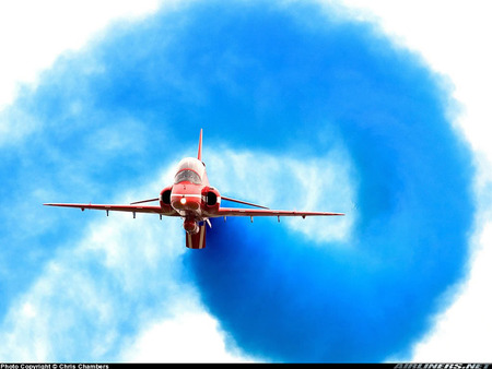 Blue Smoke Trail - fighter aircraft, flight, fighters, planes, milatary, aircraft, airplanes, jets, trail, smoke, airobatics, blue