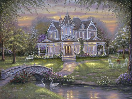 Home... - house, grass, manor, lights, nice, fantasy, flowers, art, lovely, painting house, sky, trees, water, purple, garden, alley, colorful, home, beautiful, swan, bridge, painting, road, lakes, bench, colors, swans, lake, pond, robert finale, flower, peaceful, seats, nature