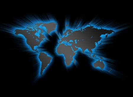 World Map - world, earth map, blue, world map, abstract, 3d, earth, map, black