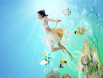 Fish Wallpaper with Girl