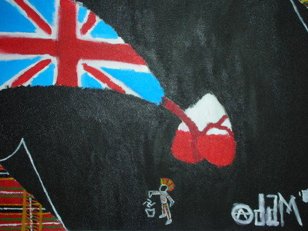 Patriotism on Canvas - red, conflict, plaid, painting, black, first, punk, blue