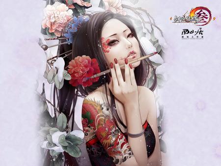 Beauty - flowers, beauty, fantasy, woman, girl, art, love, warrior