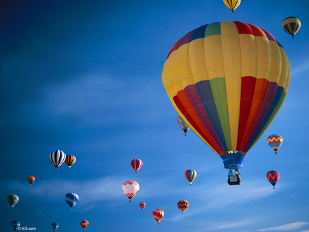 Up and Away - colors, sky, balloons