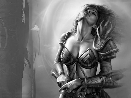 Warrior Girl - grey background, warrior, black and white, lone, fantasy, video games, games, girl, female, neverwinter nights, armour