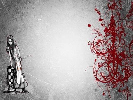 Alice In Wonderland - red, fairytail, art, female, gray, black, abstract, woman, alice wonderland, fantasy, girl, white