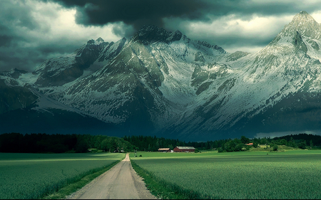 beautiful landscape - grass, landscape, vegetation, evening, stormy, beautiful, mountains, road