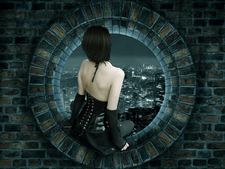 Watching the city - window, view, town, black, woman, wall, lights, goth, girl, gothic, dark, night