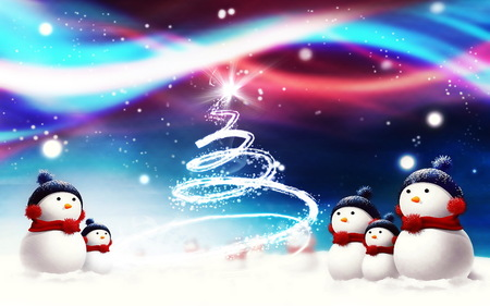 Snowmen - snow, christmas, stars, snowman, winter, cold, tree, snowmen