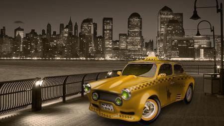 Taxi - abstract, buildings, taxi