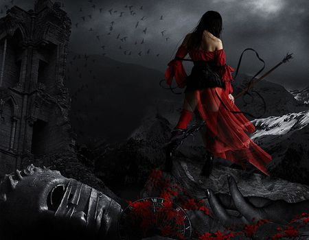 The wheel of time - red, female, dress, birds, black, woman, fantasy, girl, darkness, dark, flowers, night