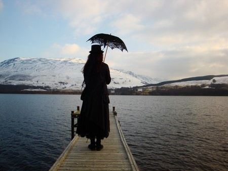The Jetty - female, black, gothic girl, lake, goth, loch, snow, mountains, scotland