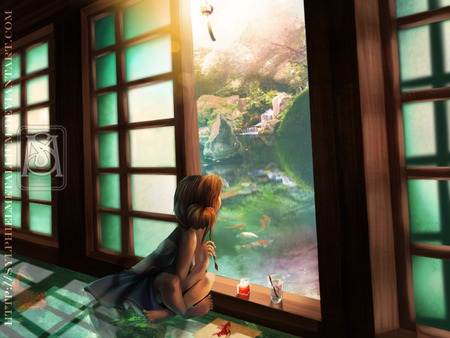 Dreamer - light, door, painting, fish, anime, cute, child, painter, draw, night, female, kid, children, scenic, artist, scene, animal, paint, fantasy, room, girl, drawing, house, art, view, anime girl, garden