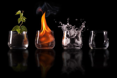 the four elements in glass - abstract, four elements