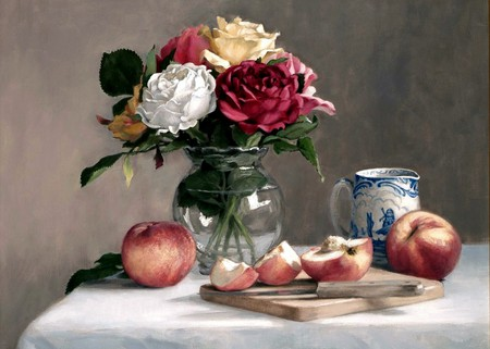 Peachy Keen - table, art, cutting board, pitcher, vase, tablecloth, roses, knife, still life, peaches