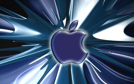 Blue apple digital splash - apple, logo, black, white, blue