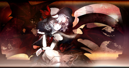 Remilia Scarlet - wings, dress, blush, purple hair, ribbons, remilia scarlet, hat, cute, short hair, girl, anime, red eyes