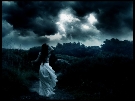 Memories and tears - storm, white, sky, dark, dress, sadness, woman, clouds, girl, darkness, female, night, sad, wind, black