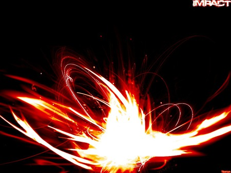 Impact - impact, black, fire, abstract
