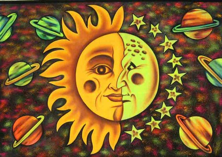 SUN AND MOON - sun, moon, half, plants