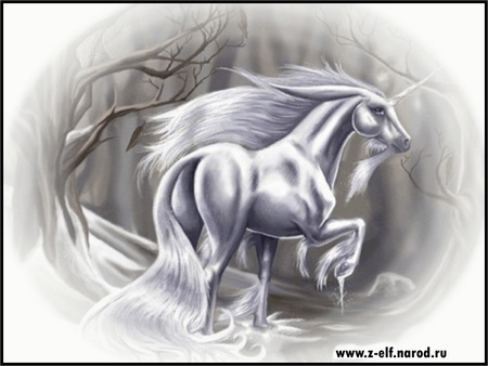 ~White Beauty in the Light of the Snow~ - beauty, snow, winter, horse, fantasy, unicorn