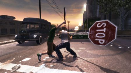 Catch the Stop Sign - hd, stop, high definition, sign, saints row 2, gang
