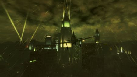 Dark Sky of a Big City - skyscraper, plane, hd, city lights, dark, high definition, saints row 2, sky