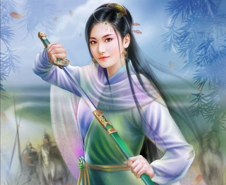 Ancient Chinese - chinese, anime, cute, sweet, warrior, sexy, lively, female, scenic, oriental, hot, nice, sword, scene, beauty, beautiful, blade, girl, pretty, weapon, anime girl