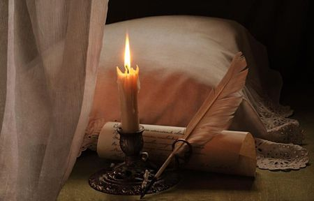 love letter - letter, pillow, candle, lace, feather