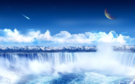 Artistic Nature - artistic, comets, scened, nice, fantasy, city, scenario, zambeze, painting, cities, other, rivers, blue, falls, amazing, moons, niagara, paysage, foam, rapids, sky, abstract, waterfalls, water, cool, universe, pictures, awesome, nature, iguazu