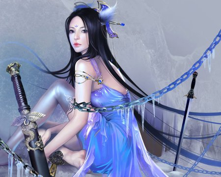 Oriental Chain - pretty, beautiful, magic, sweet, nice, fantasy, blade, anime, hot, beauty, anime girl, weapon, sword, chain, female, lovely, sexy, cute, warrior, girl, oriental, chinese, maiden