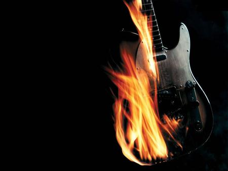 Burning Guitar Wallpaper