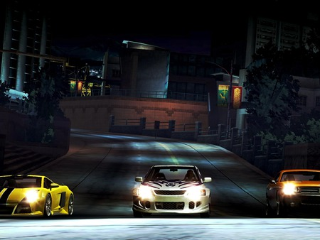need for speed -underground,ready for race - yellow, night, game, white, orange, racing, light, need for speed-underground, three, cars, street