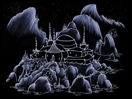 Night Castle - art, fantasy, purple, black, abstract, castle, night