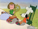 peppermint patty and snoopy eating outdoors