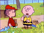 charlie brown with linus, she loves me, she loves me not
