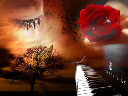 Sad Dream Song - sadness, piano, sunset, music