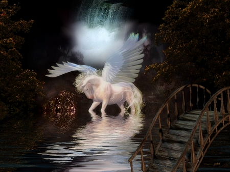 Bridge - rock, beautiful, fantasy horse, stallion, fantasy, bridge, waterfall, reflection, forest, greek mythology, wings, dark art, graphics, closeup, horse, abstract, mist, tree, water, pegasus, dark, colours, white, wooden