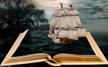 Journey in history - time, book, black, sky, sea, tree, boat, fantasy, ship, dark, dream, night