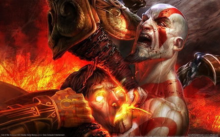Kratos vs Helios - revenge, war, playstation, ares, kratos, helios, 3, god