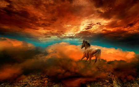 Fantasy Horse - red, beautiful, sunset, magic, clouds, fantasy horse, animal, nice, fantasy, beauty, kingdom, other, animals, blue, art, cloud, lovely, colors, sky, horse, abstract, horses, clods