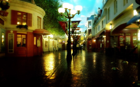 Romantic Place - peaceful, walk, path, dark, lights, night, alley, road, sky, reflection, romance, city, clouds, rainy, house, lanterns, town, romantic, lantern, evening, way, colors, splendor, nice, street, architecture, beautiful, lovely, houses, dusk, shops, view, rain