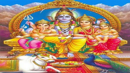 Lord Shiva And Family - sanatan dharma, god, mystical, sanatana dharma, hindu, kailash, kaliasa, shiva, ganesh, majestic, dharma, kartikeya, ganesha, parvati, lord, india, hinduism, kailasa, beautiful, lovely, kailasha, lords, family, supreme
