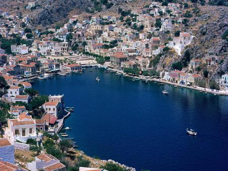 Simi-Greece - houses, blue, island, house, sea, view, greece