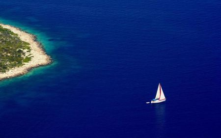 Only blue - island, boat, blue, sea, greece, sailboat