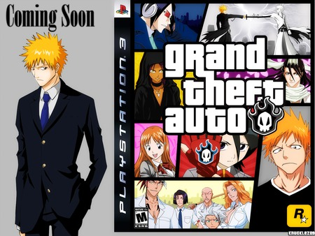 Grand Theft Auto - tie, orihime, gloves, suit, grand theft auto, red hair, group, blue eyes, white hair, blue hair, petals, glasses, yellow eyes, bleach, byakoya, long hair, rukia, ichigo, short hair, anime, black eyes, ribbons, sword