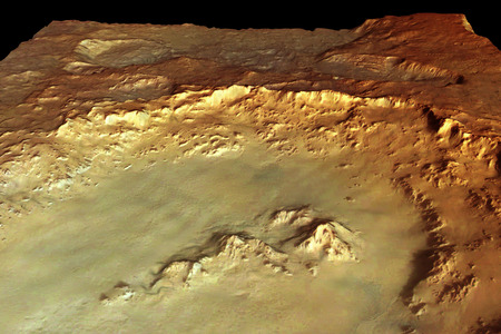 mars crater - crater, mars, space